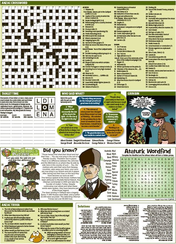Thumbnail for Anzac Day family puzzle page