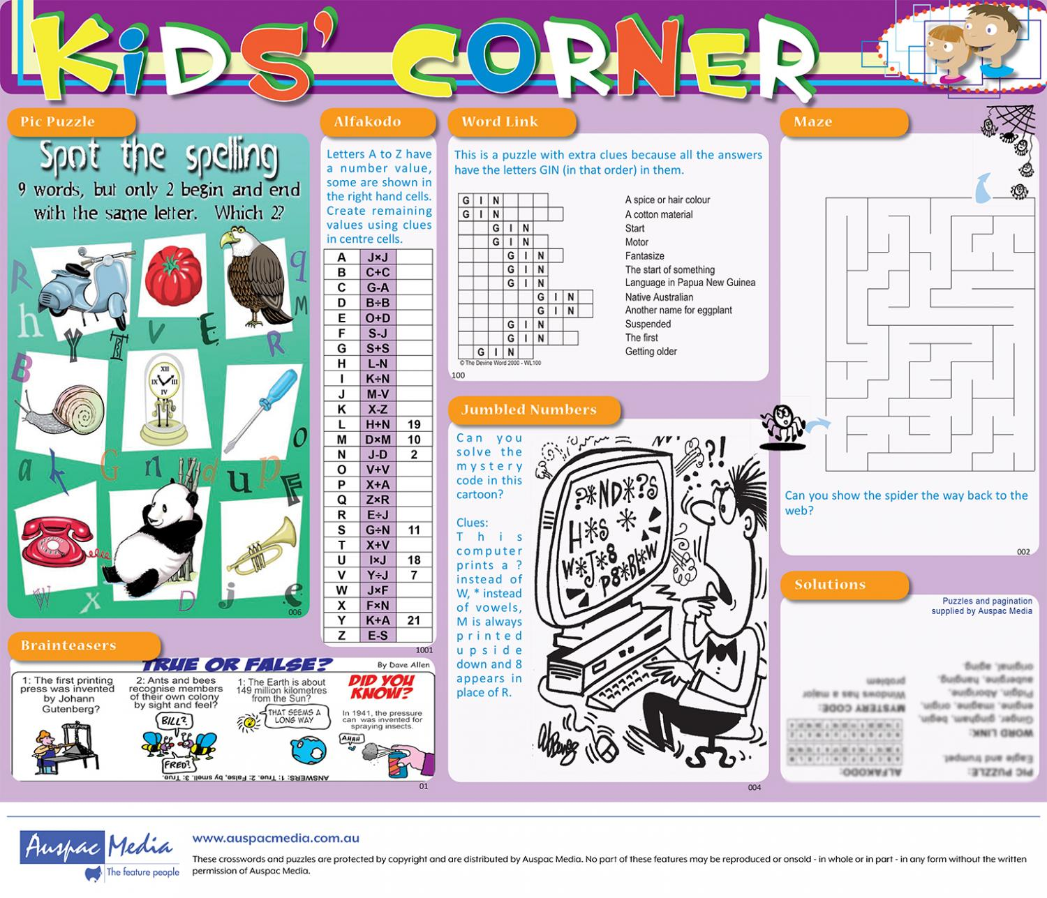 Thumbnail for Kids' Corner - Half Page