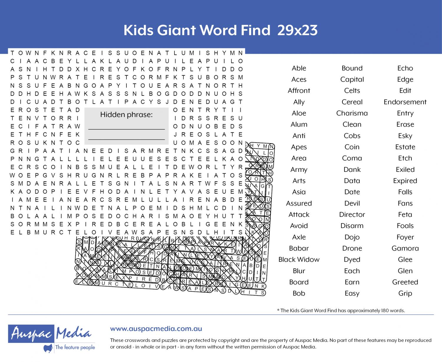Thumbnail for Kids Giant Word Find 29x23