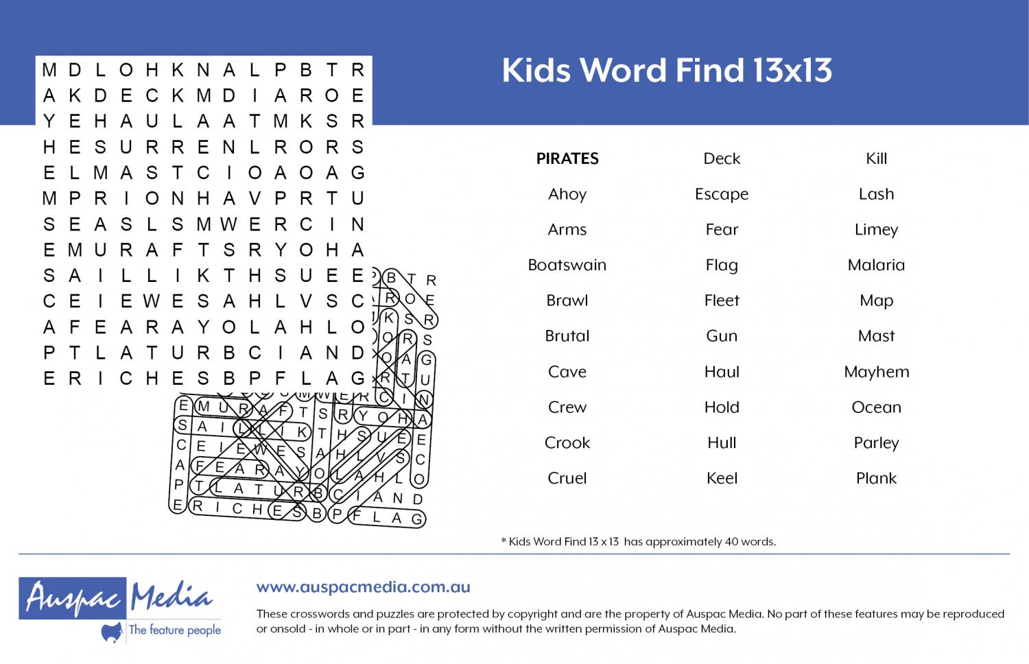 Thumbnail for Kids Word Find 13x13
