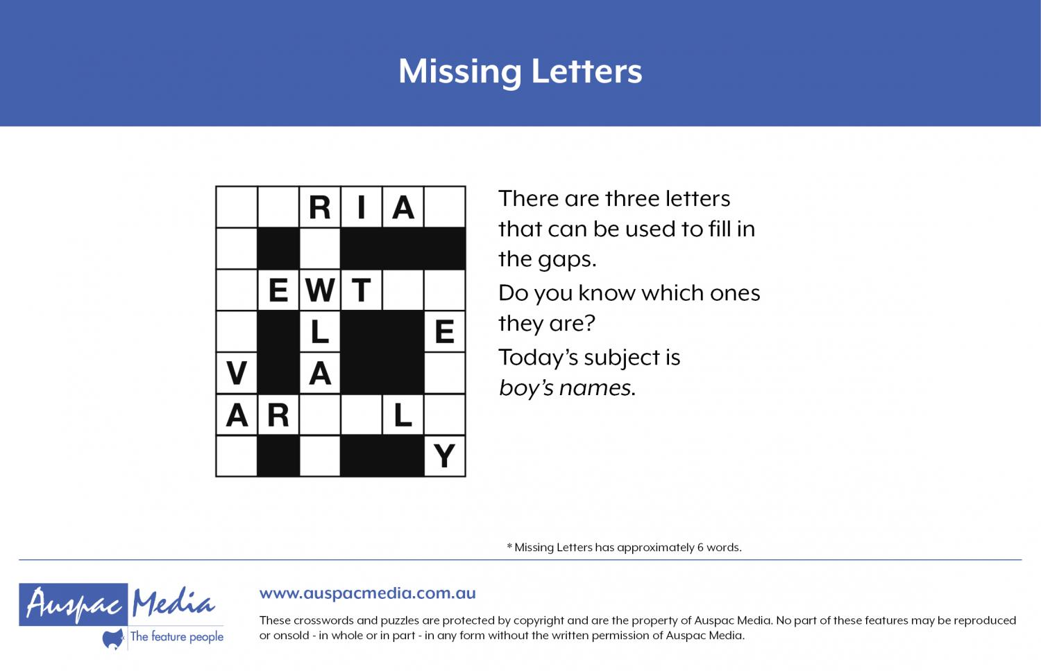 Thumbnail for Missing letters