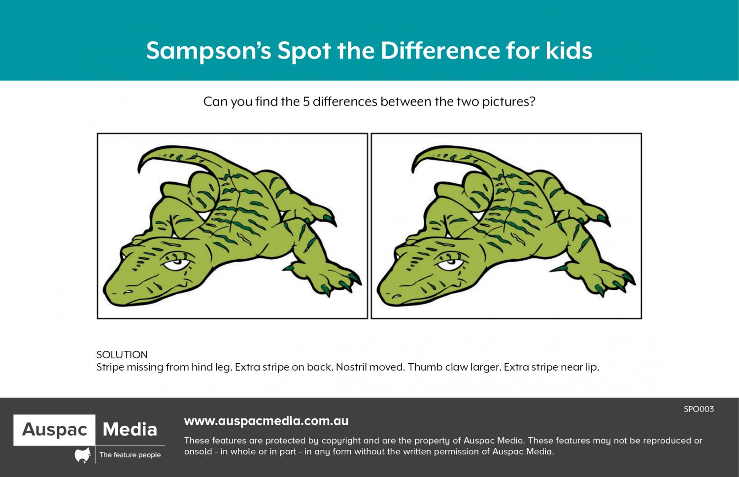 Thumbnail for Sampson's Spot the Difference for kids
