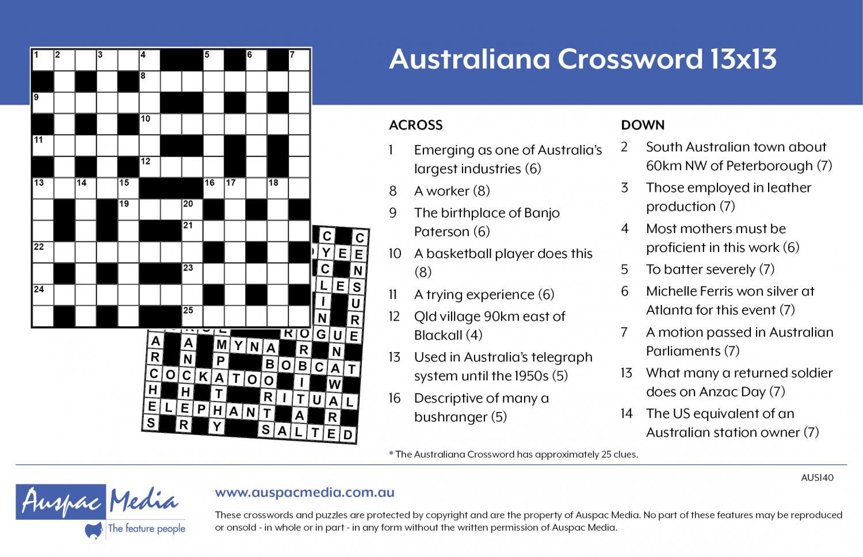 Thumbnail for Australiana Crossword 13x13