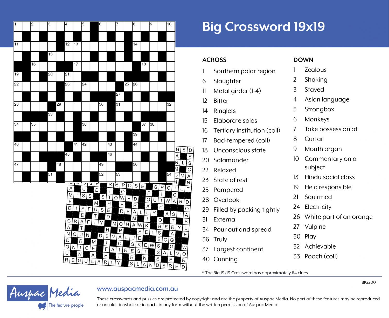 Thumbnail for Big One Crossword 19x19