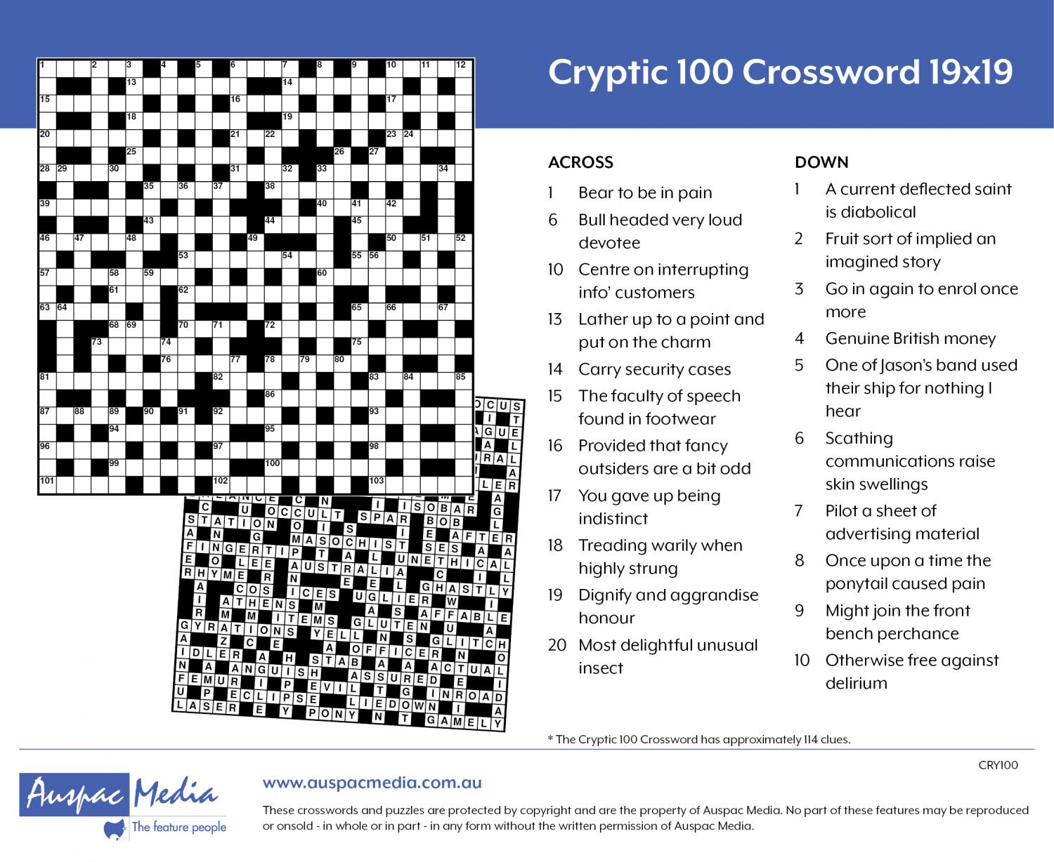Thumbnail for Cryptic 100 Crossword 25x25