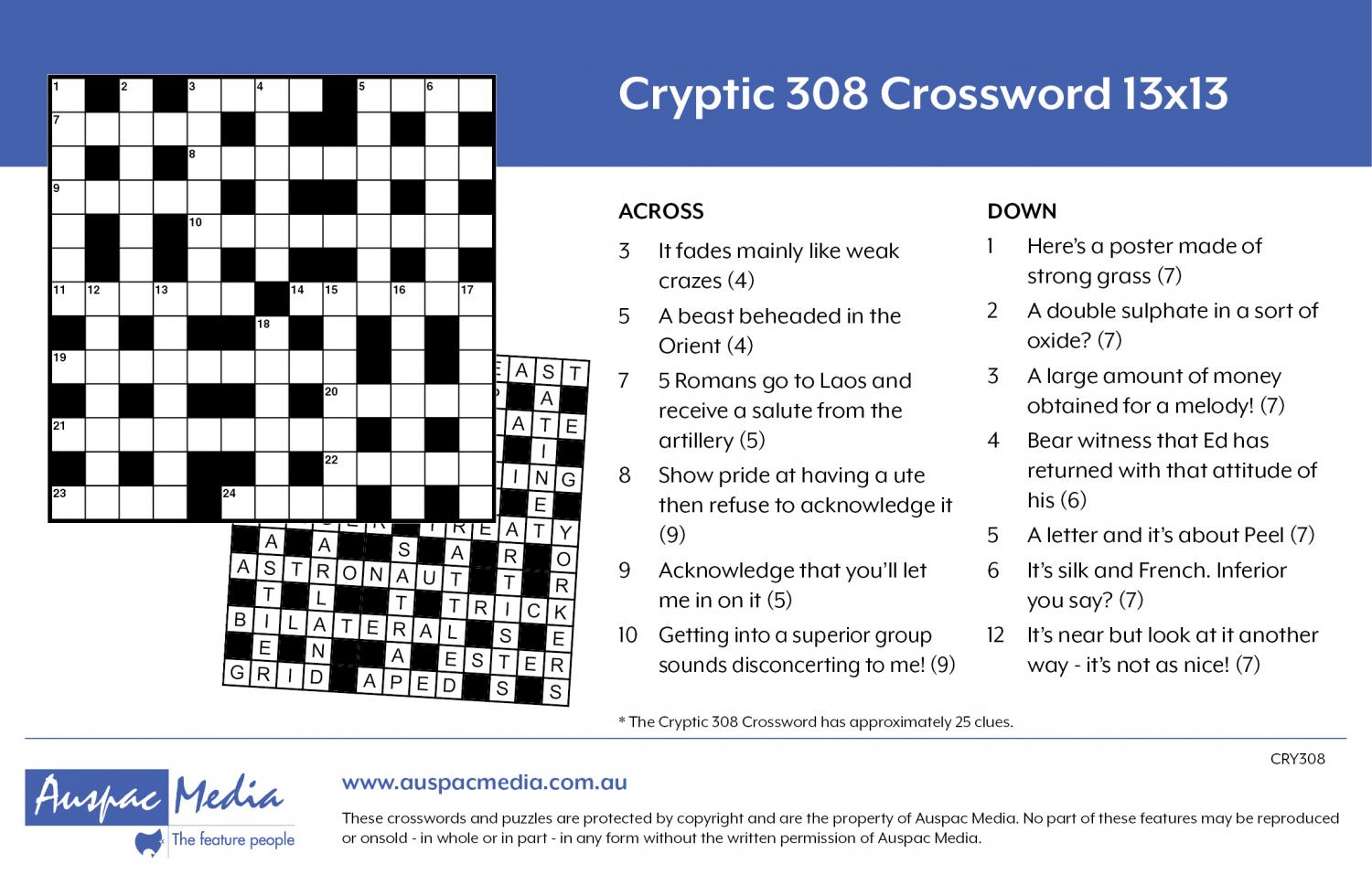 Thumbnail for Cryptic 308 Crossword 13x13