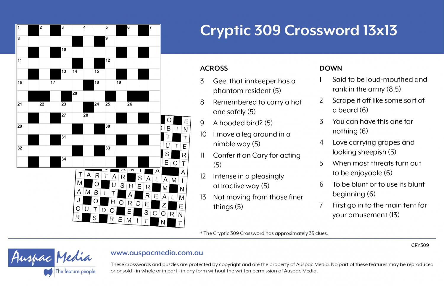 Thumbnail for Cryptic 309 Crossword 13x13