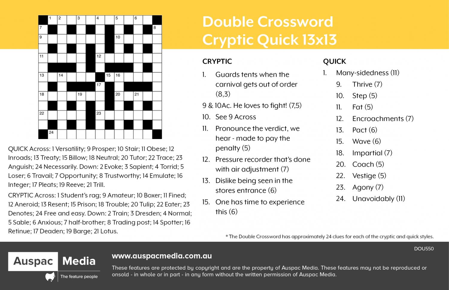 Thumbnail for Double Crossword Cryptic Quick 13x13