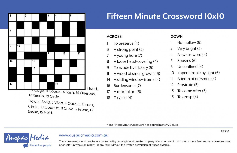 Thumbnail for Fifteen Minute Crossword 10x10