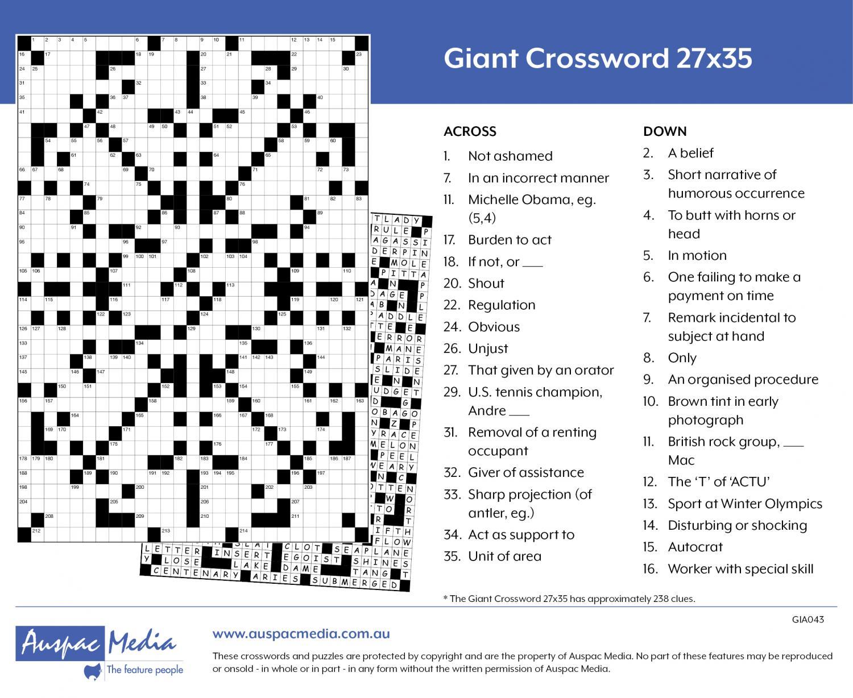 Thumbnail for Giant Crossword 27X35