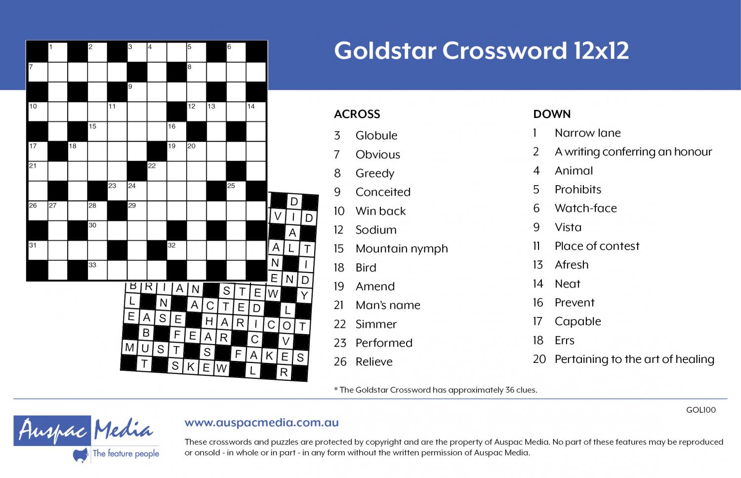 Thumbnail for Goldstar Crossword 12x12