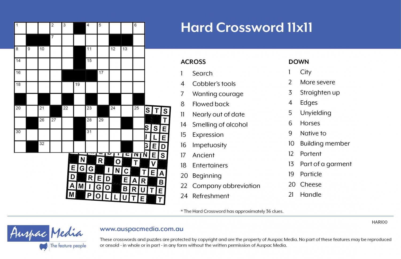 Thumbnail for Hard Crossword 11x11