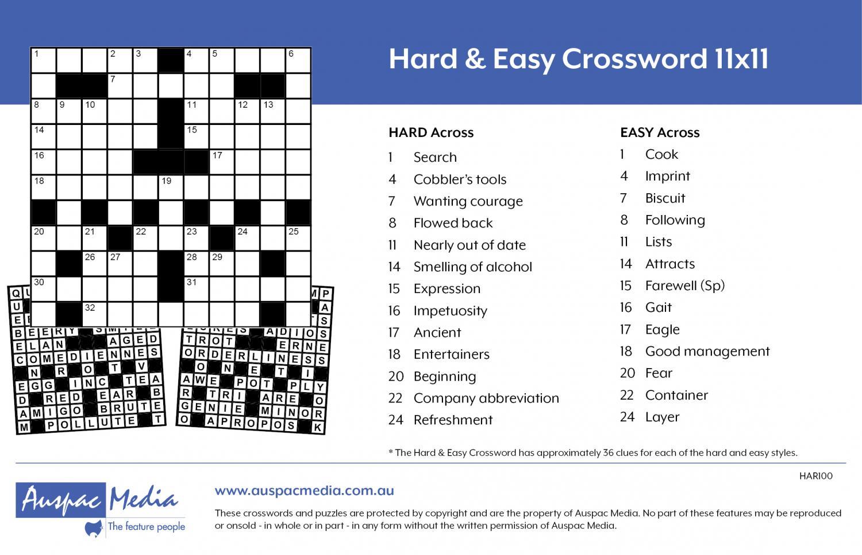 Thumbnail for Hard & Easy Crossword 11x11