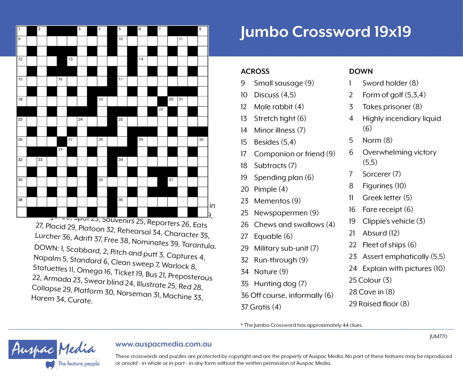 Thumbnail for Jumbo Crossword (PA) 19x19