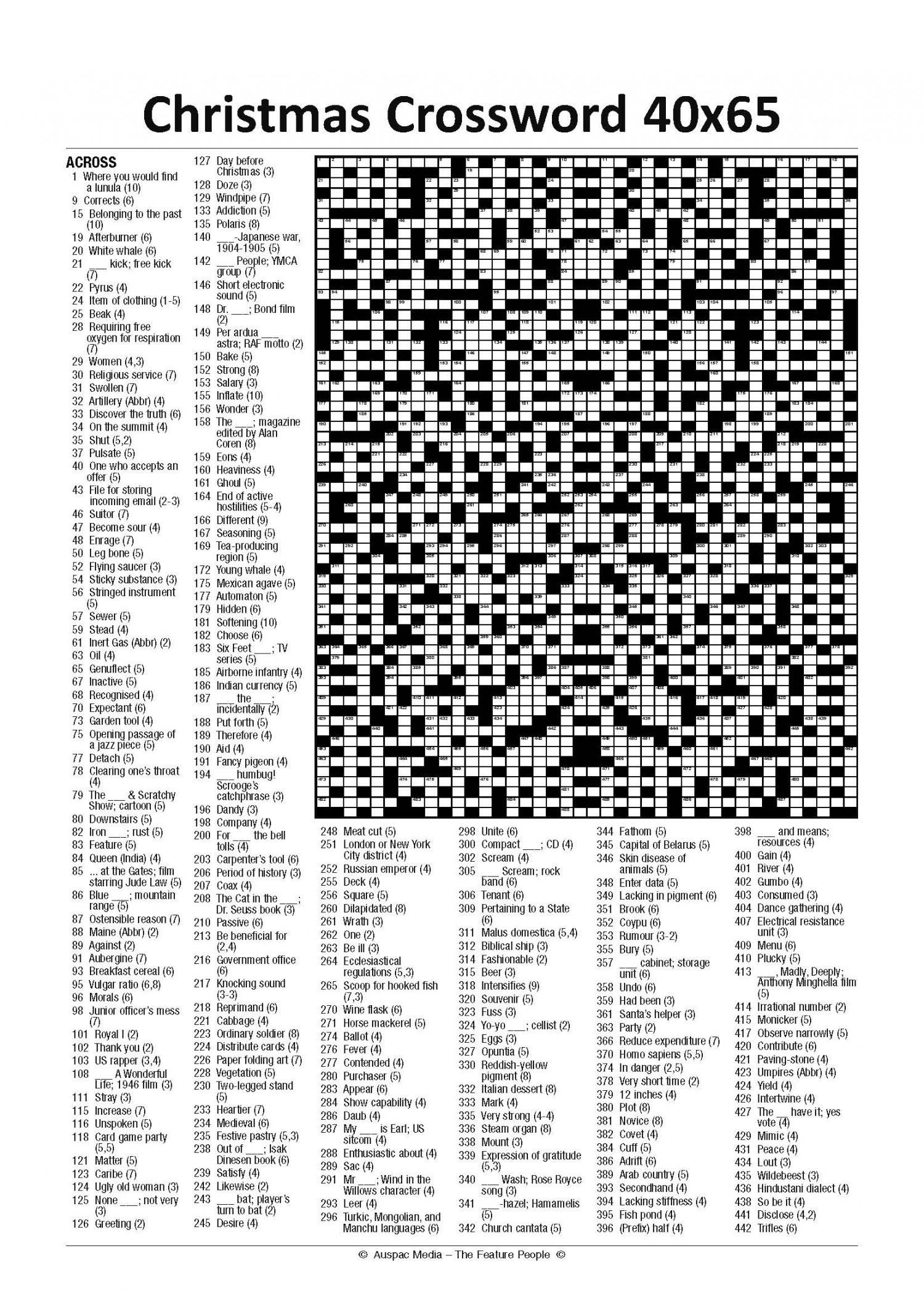 Thumbnail for Christmas Crossword 40 x 65 - Large (KF) 2019