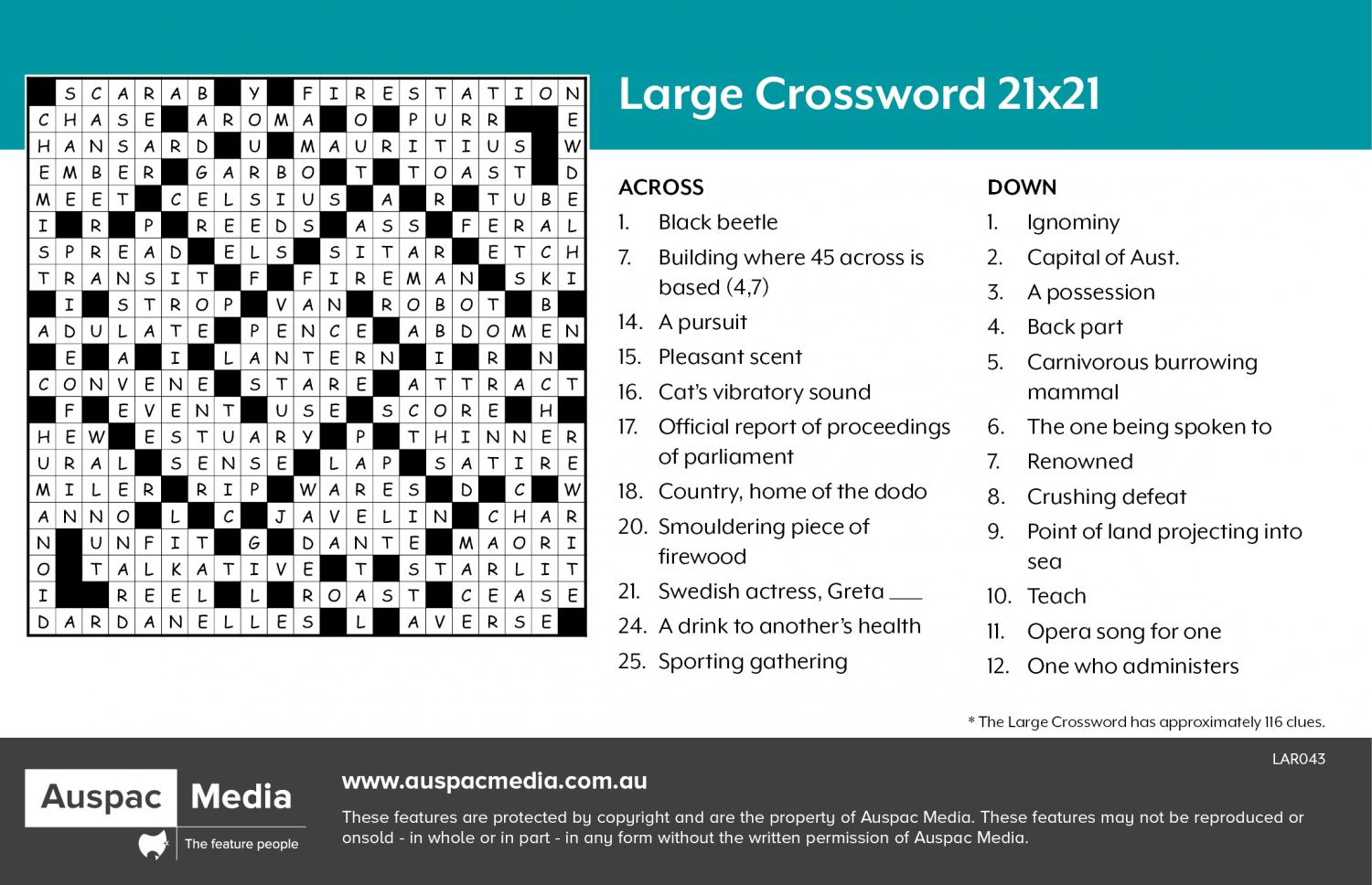 Thumbnail for Large Crossword 21x21