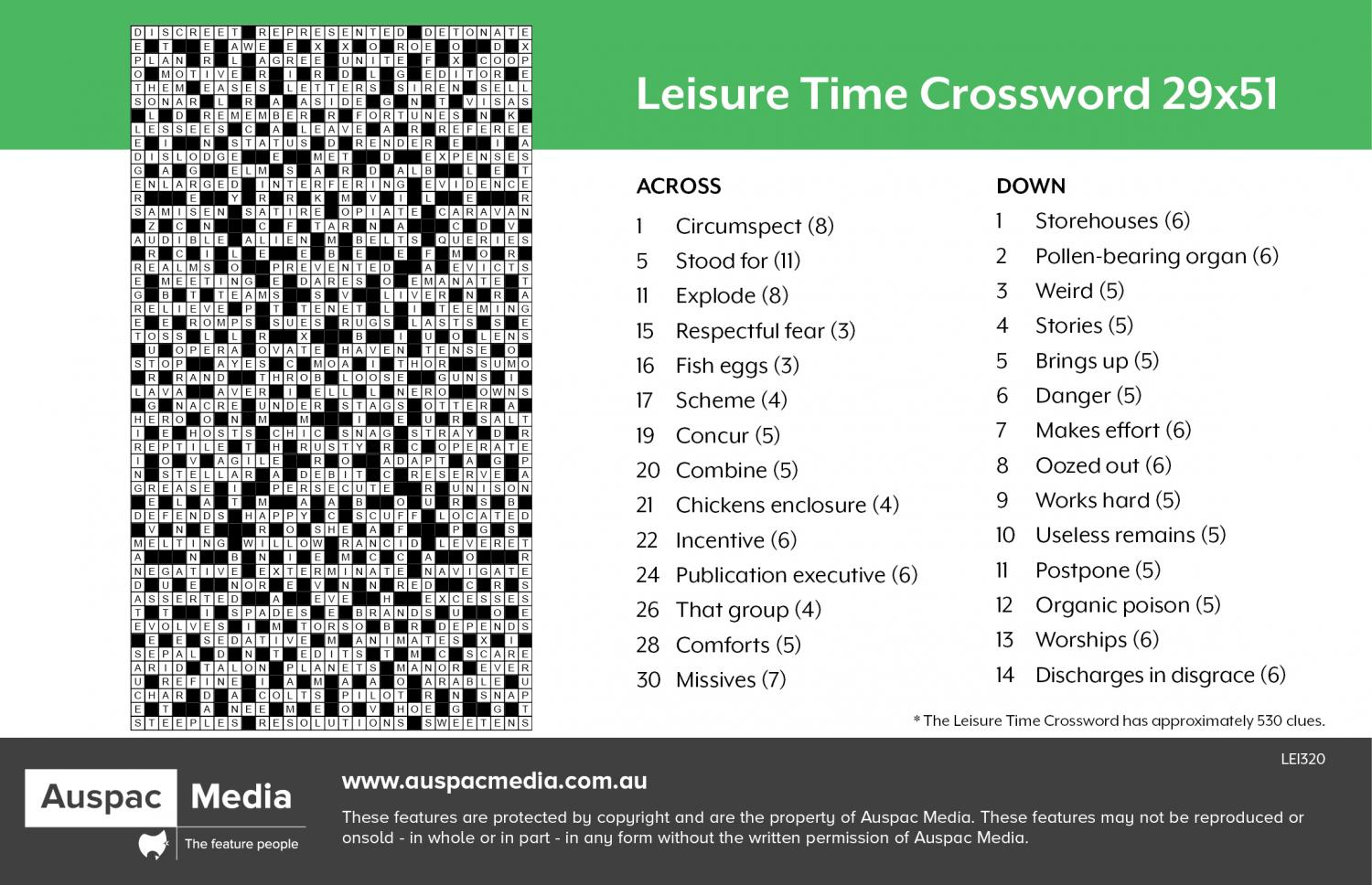 Thumbnail for Leisure Time Crossword 29x51