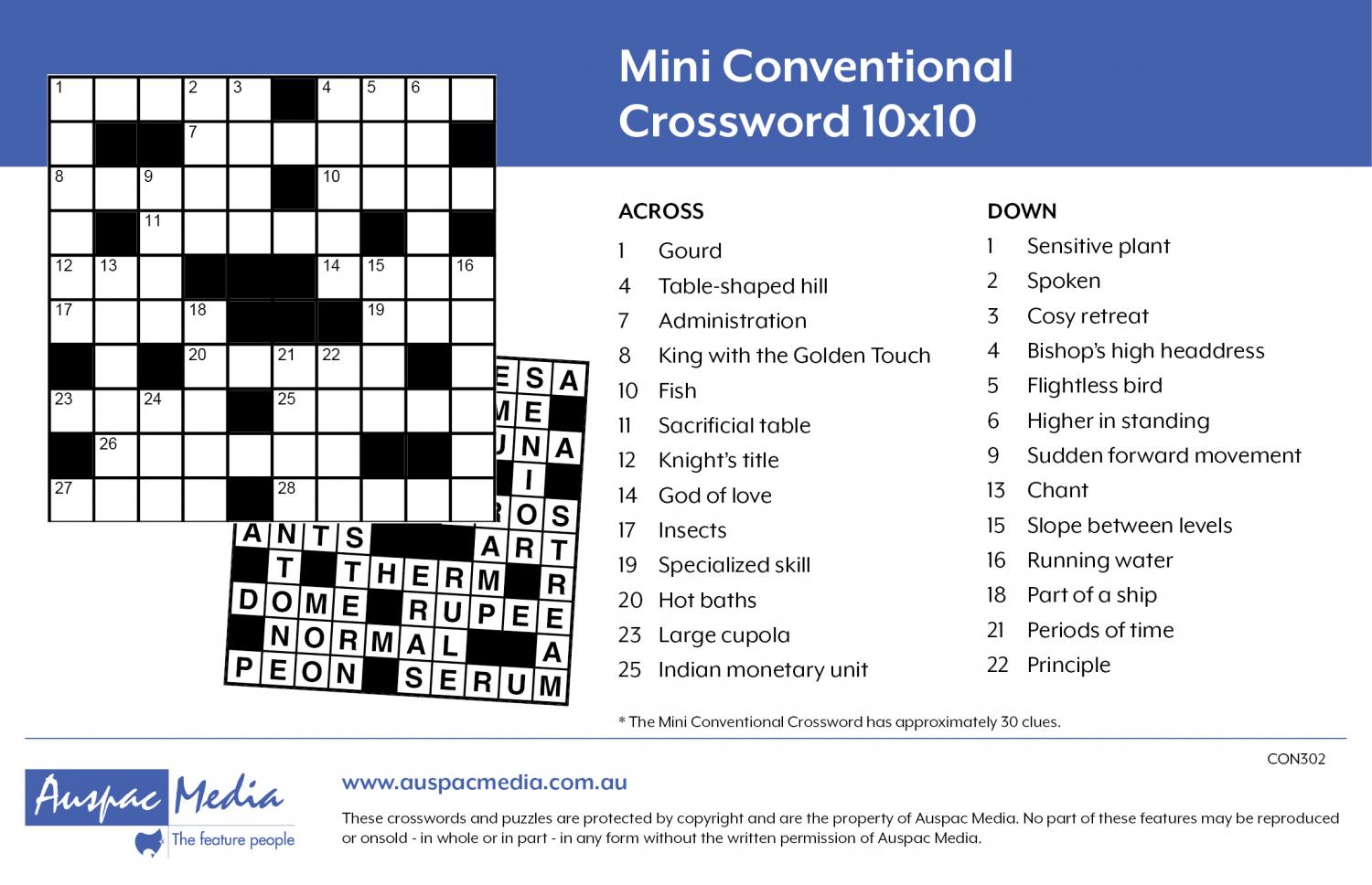 Thumbnail for Mini Conventional Crossword 10x10