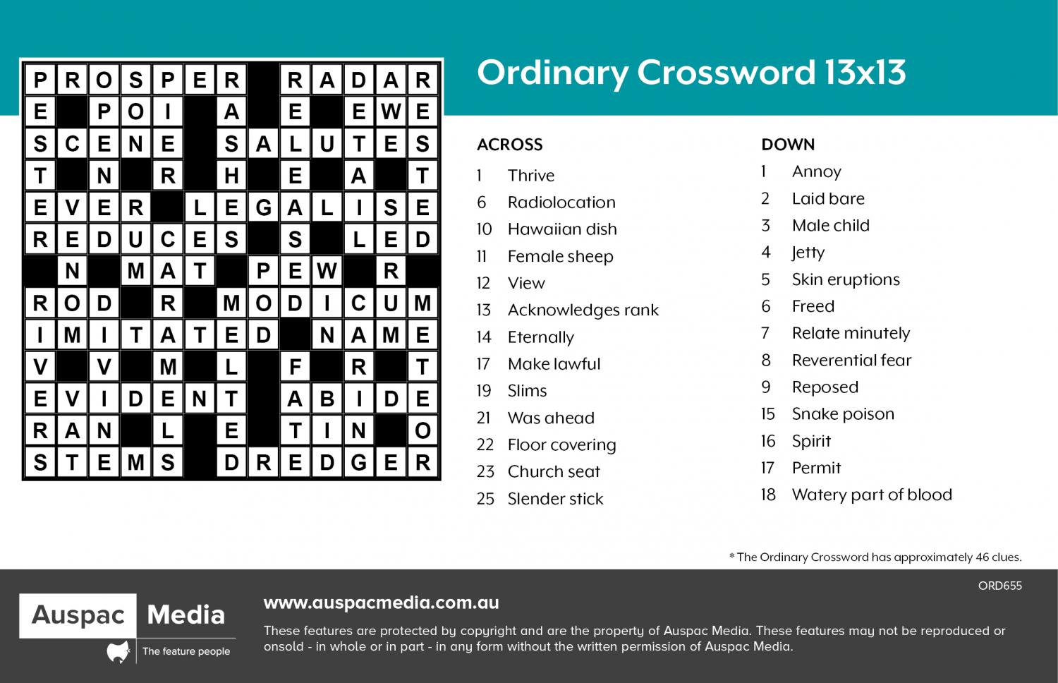 Thumbnail for Ordinary Crossword 13x13