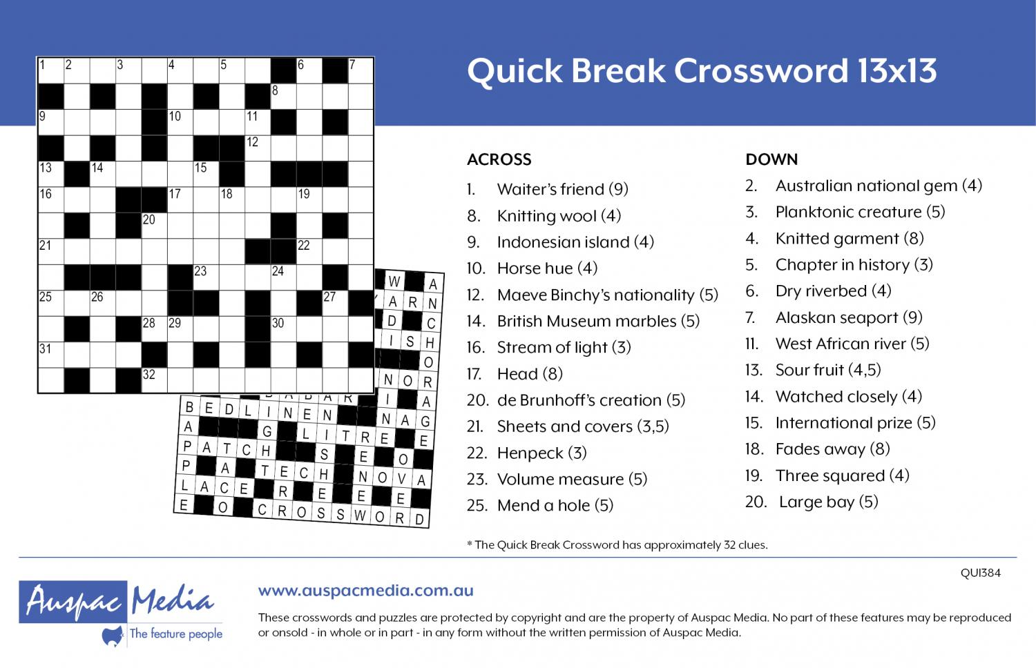 Thumbnail for Quick Break Crossword 13x13