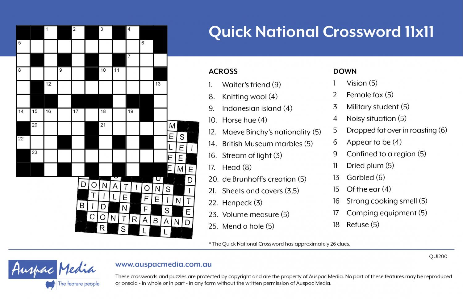Thumbnail for Quick National Crossword 11x11