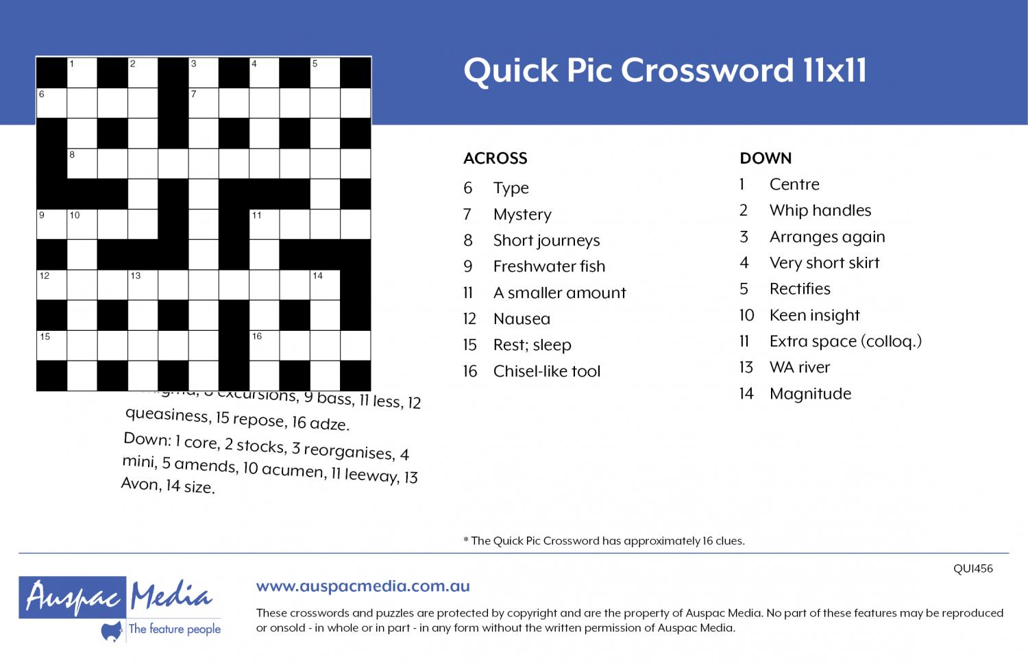 Thumbnail for Quick Pic Crossword 11x11