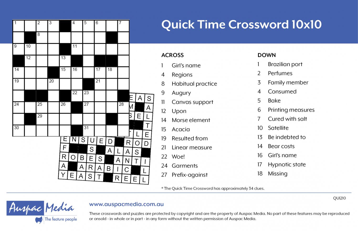 Thumbnail for Quick Time Crossword 10x10