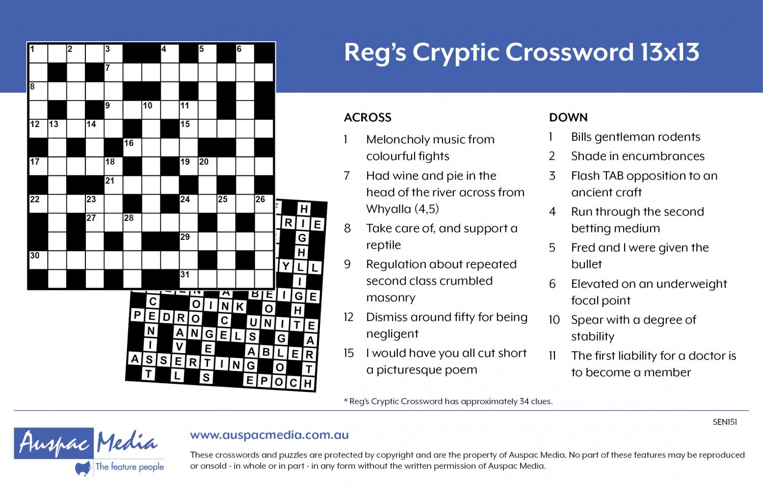 Thumbnail for Reg's Cryptic Crossword 13x13