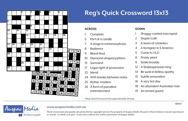 Thumbnail for Reg's Quick Crossword 13x13