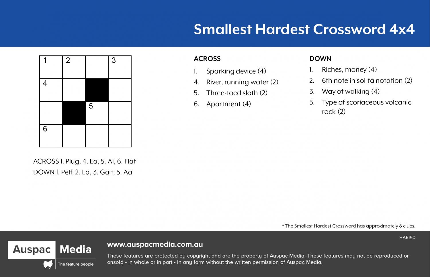 Thumbnail for Smallest Hardest Crossword (KF) 4x4