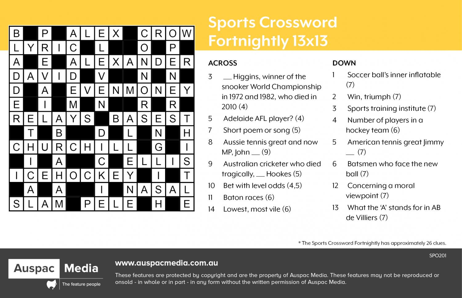 Thumbnail for Sports Crossword Fortnightly