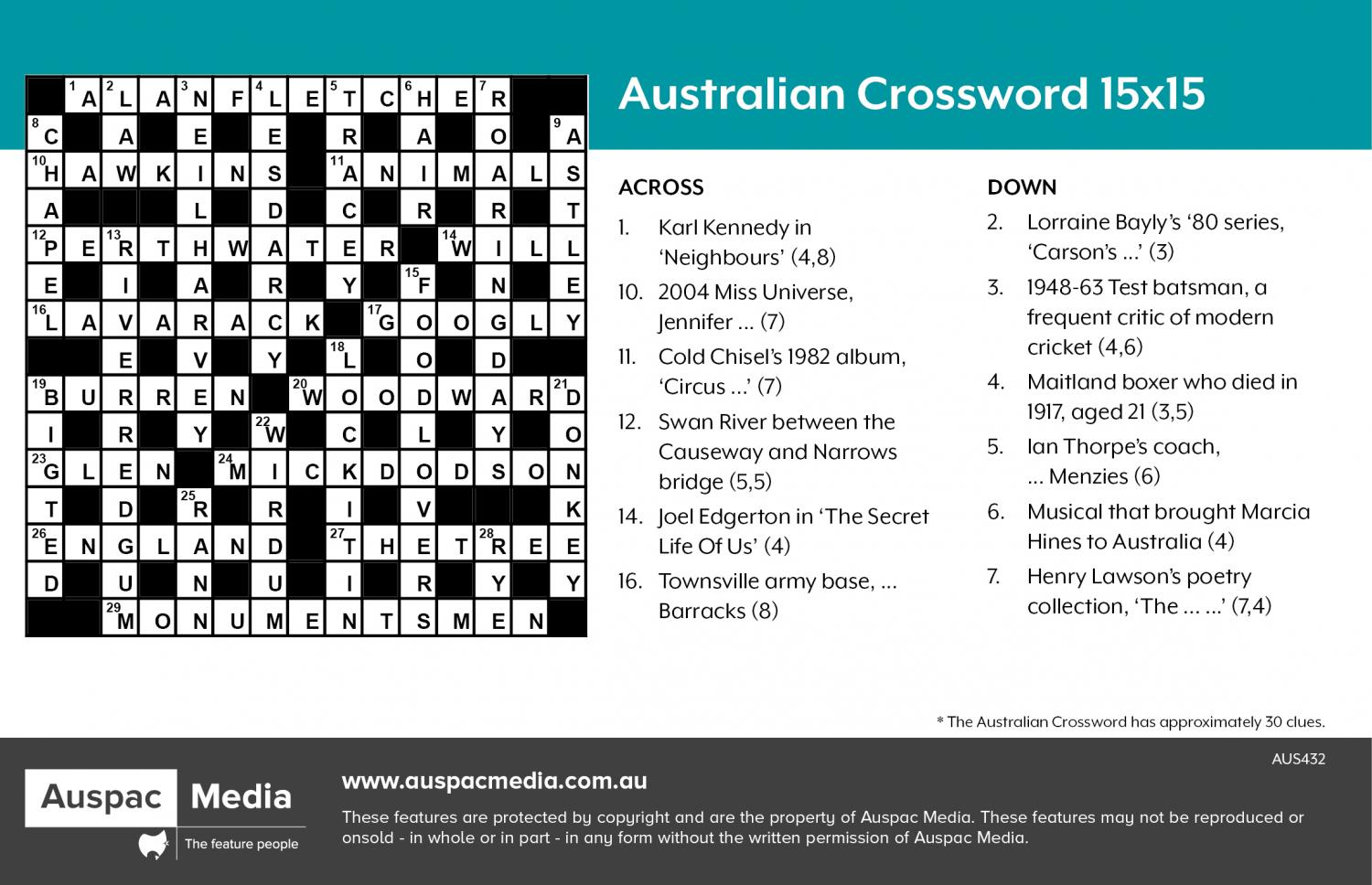 Thumbnail for Australian Crossword 15X15