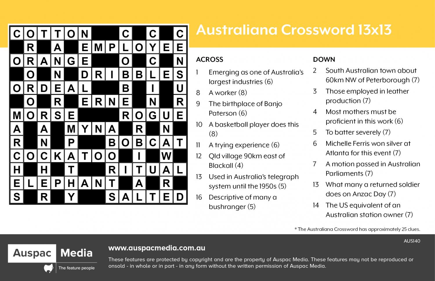 Thumbnail for Australiana Crossword 13x13