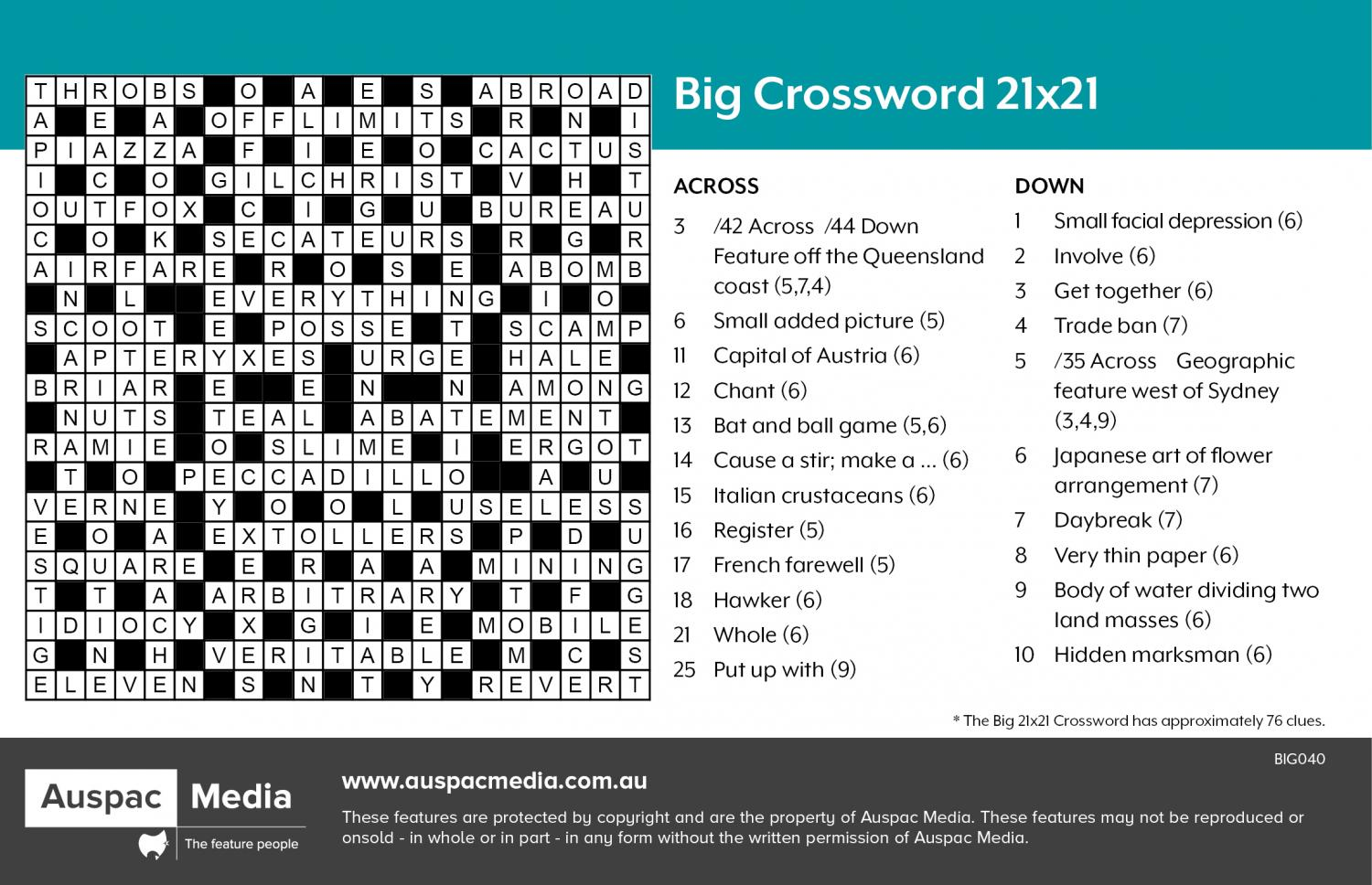 Thumbnail for Big Crossword 21x21