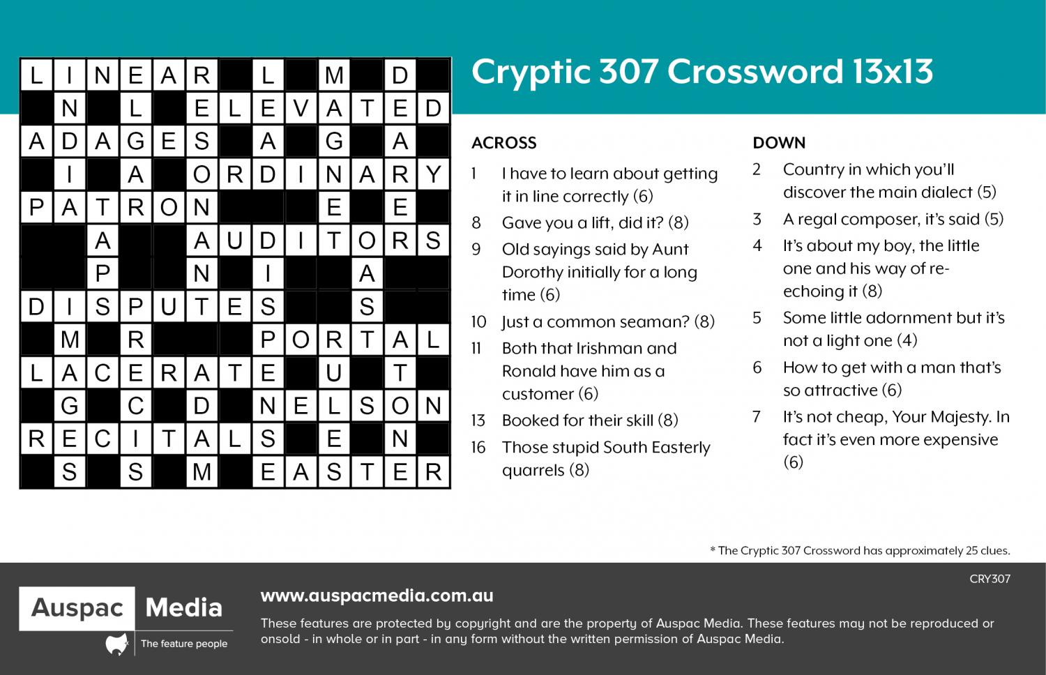 Thumbnail for Cryptic 307 Crossword 13x13