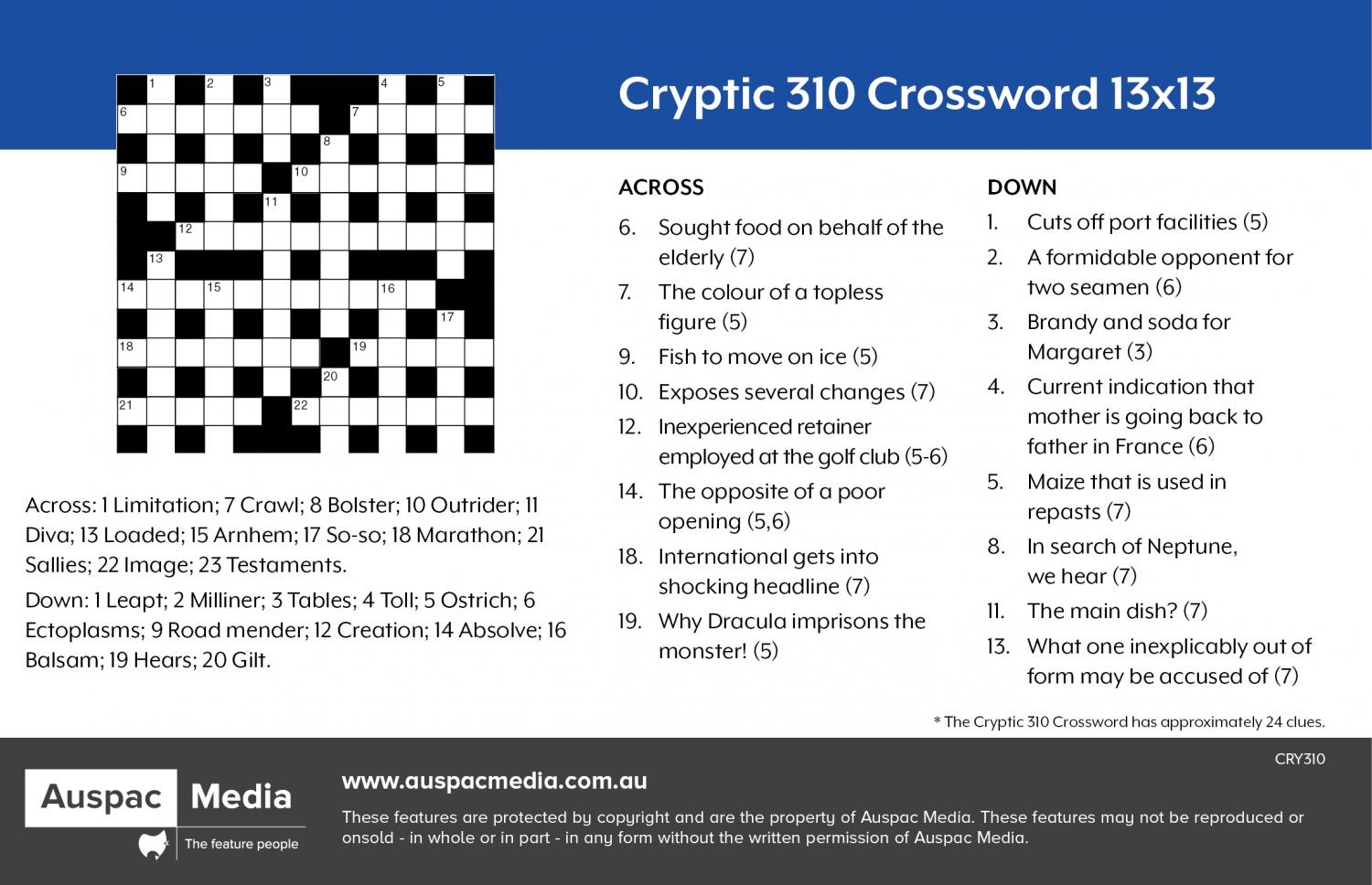 Thumbnail for Cryptic 310 Crossword (PA) 13x13