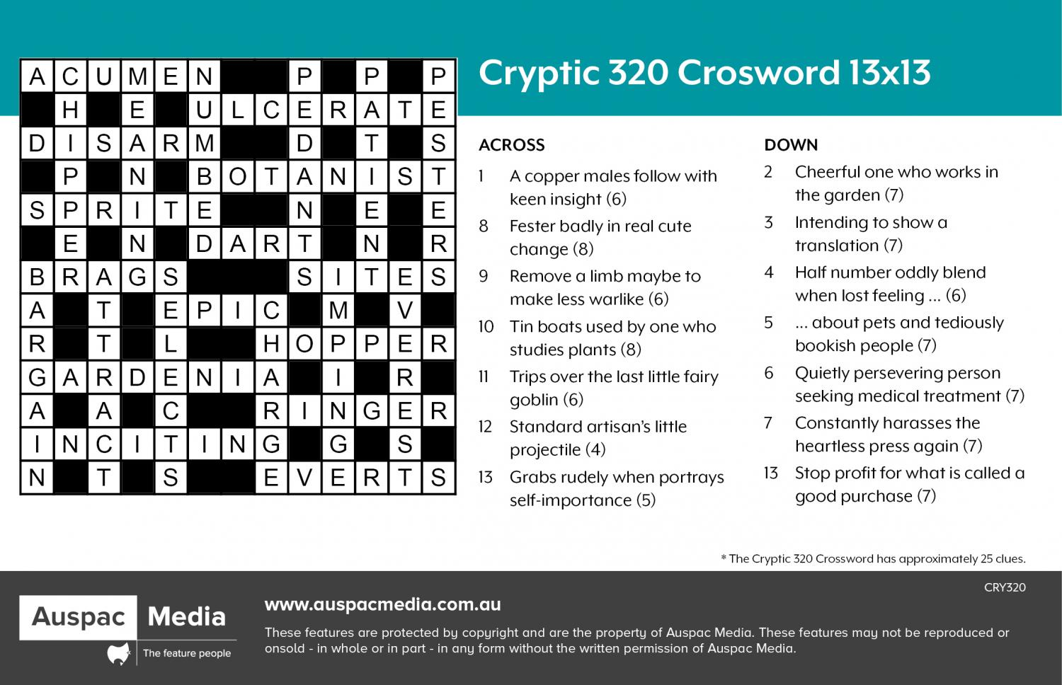 Thumbnail for Cryptic 320 Crossword (AU) 13x13
