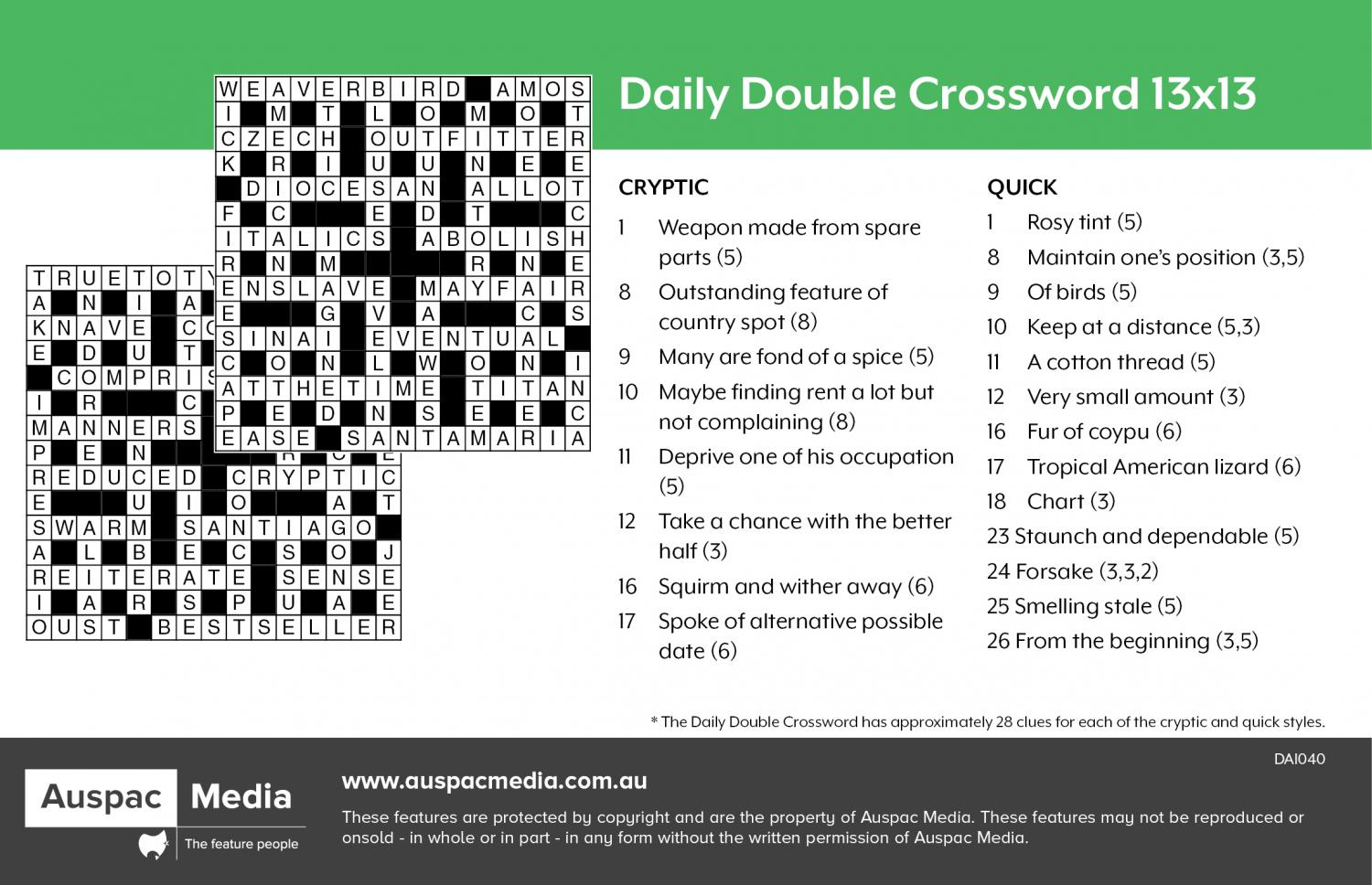 Thumbnail for Daily Double Crossword 13x13