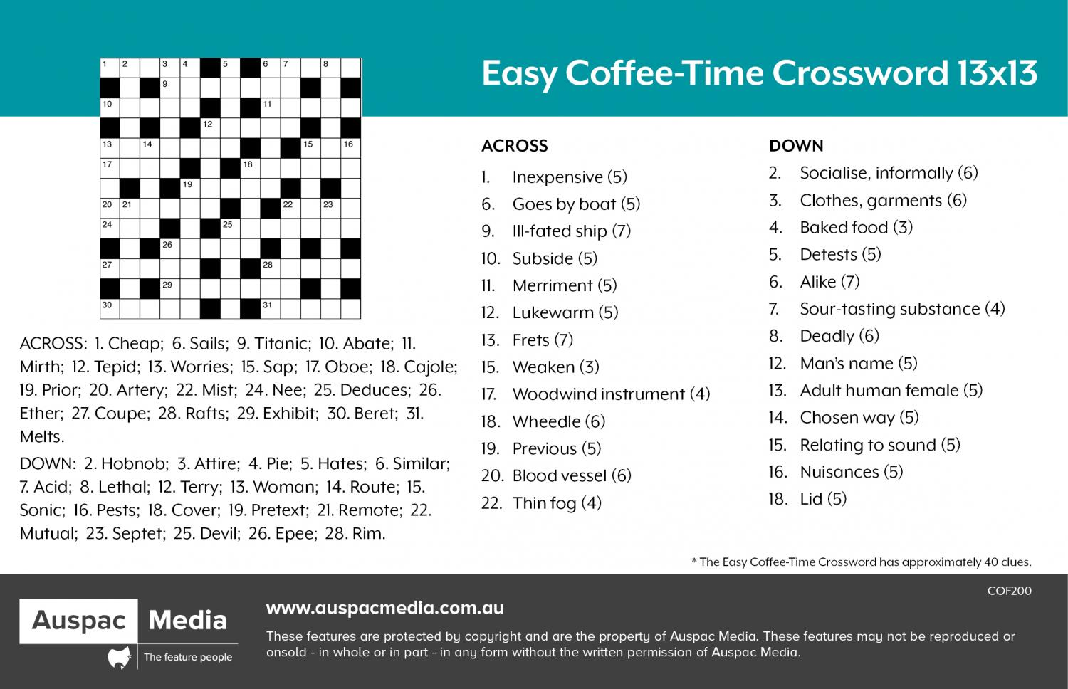 Thumbnail for Easy Coffee Time Crossword 13x13