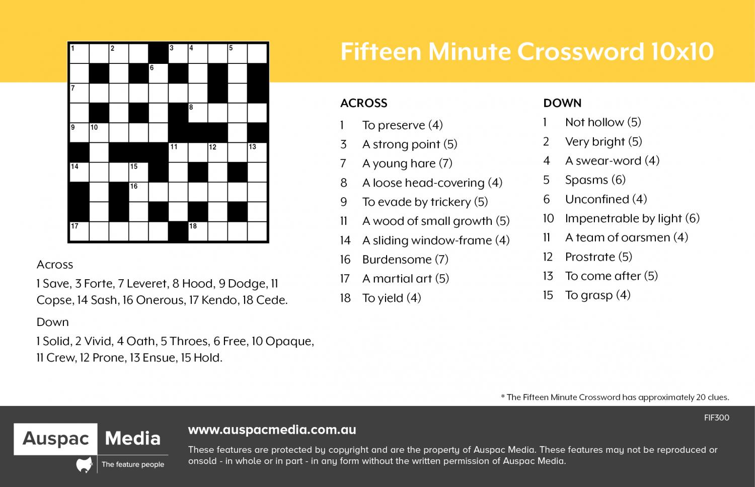Thumbnail for Fifteen Minute Crossword 10x10