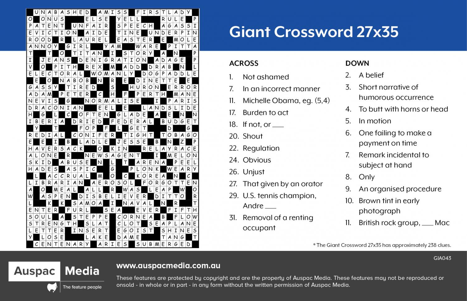 Thumbnail for Giant Crossword 27X35