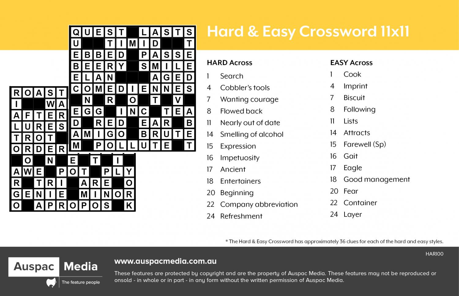 Thumbnail for Hard & Easy Crossword 11x11