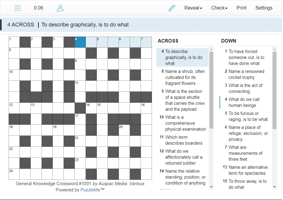 Thumbnail for Online General Knowledge Crosswords