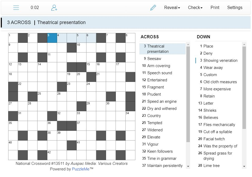 Thumbnail for Online National Crosswords