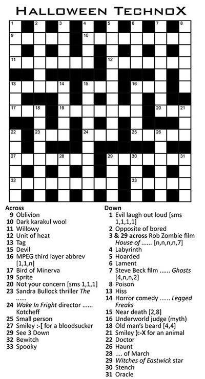 Thumbnail for Halloween TechnoX Crossword 15x15