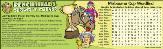 Thumbnail for Pencilhead's Melbourne Cup Fun Facts with Word Fin