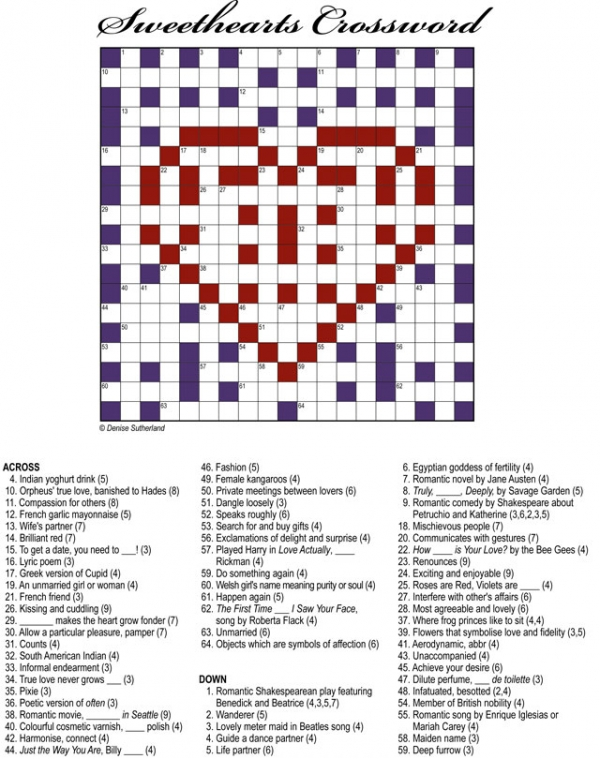 Thumbnail for Valentine's Day Sweethearts Crossword 19x19