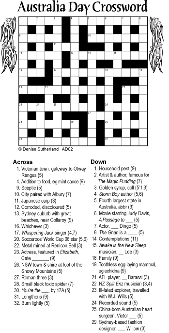 image relating to Cryptic Crosswords Printable identify Australia Working day crossword 15x15