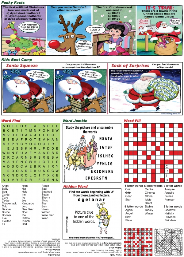 Thumbnail for Children's fun Christmas puzzle page.