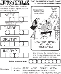 graphic relating to Printable Jumble Puzzles named JUMBLE® (TM)
